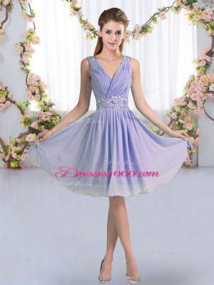 Customized Knee Length Lavender Bridesmaid Gown V-neck Sleeveless Zipper