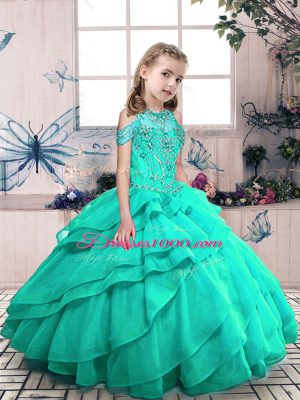 Custom Design Floor Length Lace Up Child Pageant Dress Turquoise for Party and Wedding Party with Beading and Ruffled Layers