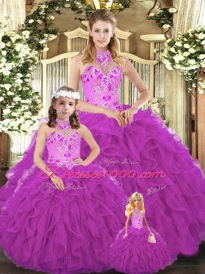 Noble Sleeveless Floor Length Embroidery and Ruffles Lace Up Quinceanera Gown with Fuchsia