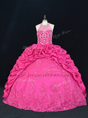 Sleeveless Beading and Appliques and Embroidery and Pick Ups Lace Up Ball Gown Prom Dress with Hot Pink