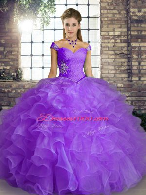 New Style Off The Shoulder Sleeveless Quinceanera Dress Floor Length Beading and Ruffles Lavender Organza