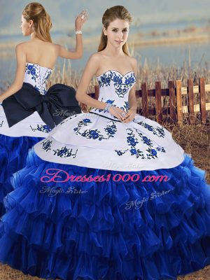 Superior Sweetheart Sleeveless Lace Up Sweet 16 Quinceanera Dress Royal Blue Organza