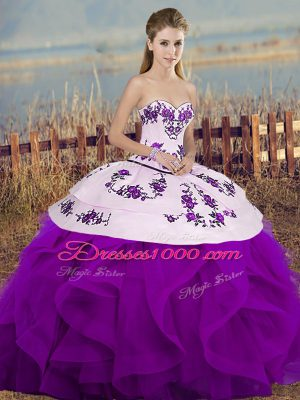 Hot Sale White And Purple Sleeveless Tulle Lace Up Quinceanera Gown for Military Ball and Sweet 16 and Quinceanera