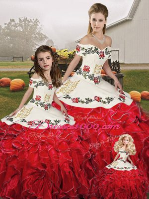 White And Red Off The Shoulder Lace Up Embroidery and Ruffles Quinceanera Gown Sleeveless