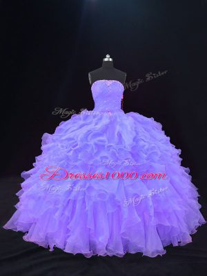 Modern Floor Length Ball Gowns Sleeveless Purple Sweet 16 Dress Lace Up