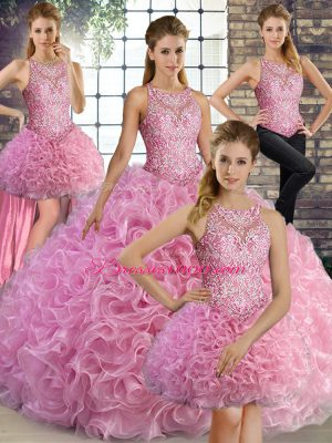 Suitable Beading Sweet 16 Dresses Rose Pink Lace Up Sleeveless Floor Length
