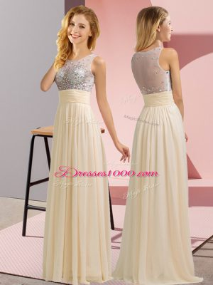 Champagne Wedding Party Dress Wedding Party with Beading Scoop Sleeveless Side Zipper