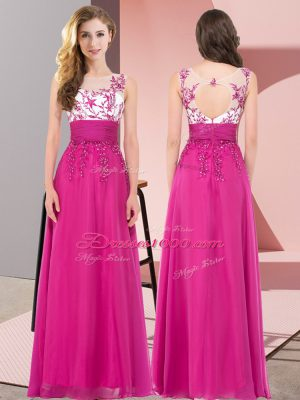 Discount Fuchsia Sleeveless Floor Length Appliques Backless Quinceanera Court of Honor Dress