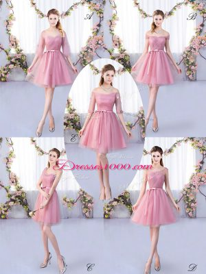 Glamorous Mini Length Pink Bridesmaid Gown V-neck Half Sleeves Lace Up