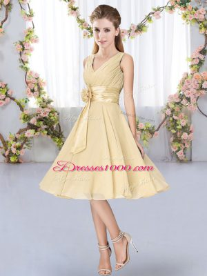 Hand Made Flower Dama Dress Champagne Lace Up Sleeveless Knee Length