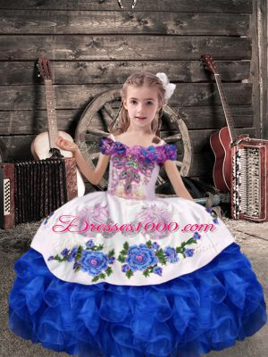Off The Shoulder Sleeveless Pageant Dress Floor Length Beading and Embroidery and Ruffles Royal Blue Organza