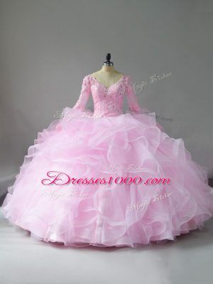 Dazzling Pink Tulle Lace Up V-neck Long Sleeves Floor Length Quinceanera Dresses Lace and Ruffles