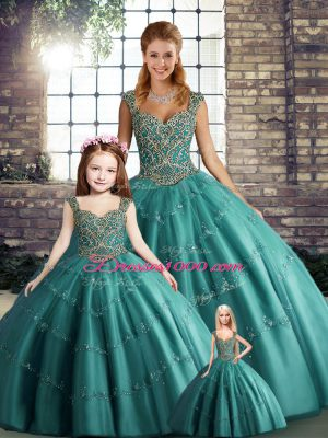 Floor Length Lace Up Ball Gown Prom Dress Teal for Military Ball and Sweet 16 and Quinceanera with Beading and Appliques