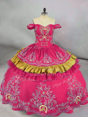 Latest Hot Pink Sweet 16 Dresses Sweet 16 and Quinceanera with Embroidery Off The Shoulder Sleeveless Lace Up