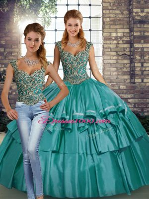 Flare Floor Length Teal Quince Ball Gowns Taffeta Sleeveless Beading and Ruffled Layers
