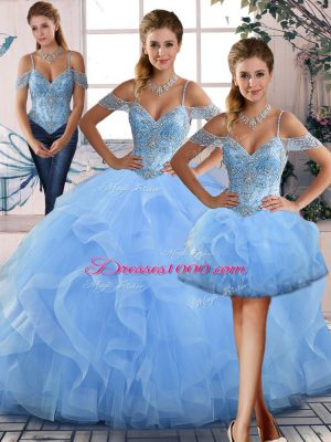 High End Blue Quinceanera Gown Sweet 16 and Quinceanera with Beading and Ruffles Off The Shoulder Sleeveless Lace Up