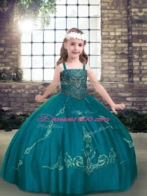 High End Teal Straps Neckline Beading Pageant Gowns For Girls Sleeveless Lace Up