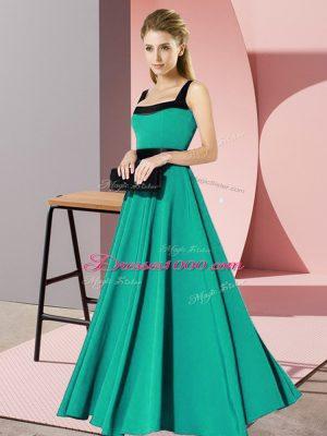 Turquoise Sleeveless Belt Floor Length Quinceanera Dama Dress