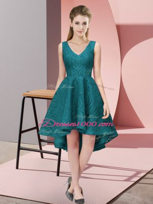 Attractive Teal Wedding Guest Dresses Wedding Party with Lace V-neck Sleeveless Zipper