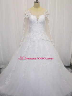 White Scoop Zipper Beading and Lace Wedding Gown Court Train Long Sleeves