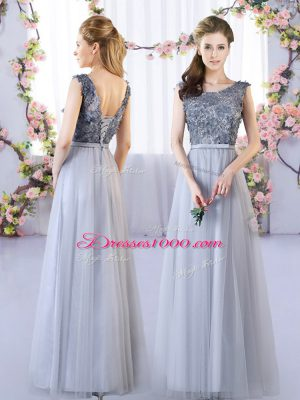 Romantic Grey Tulle Lace Up Scoop Sleeveless Floor Length Quinceanera Court of Honor Dress Appliques