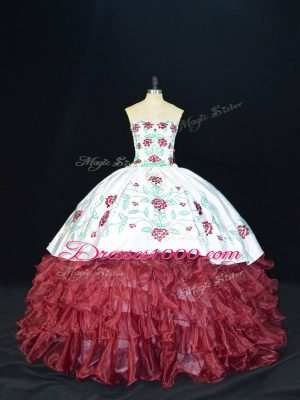 Burgundy Sleeveless Organza Lace Up Quince Ball Gowns for Sweet 16 and Quinceanera