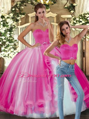 Fuchsia Sweetheart Lace Up Beading Quinceanera Gowns Sleeveless
