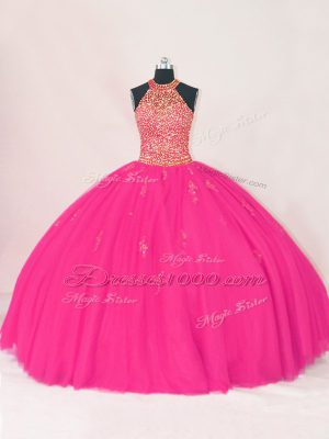 Exquisite Floor Length Ball Gowns Sleeveless Hot Pink Quinceanera Gowns Lace Up