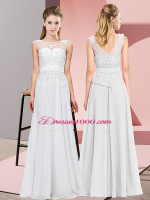 White Empire Chiffon Scoop Sleeveless Beading and Appliques Floor Length Zipper Court Dresses for Sweet 16