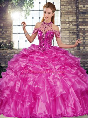 Fuchsia Lace Up Halter Top Beading and Ruffles Quinceanera Dress Organza Sleeveless