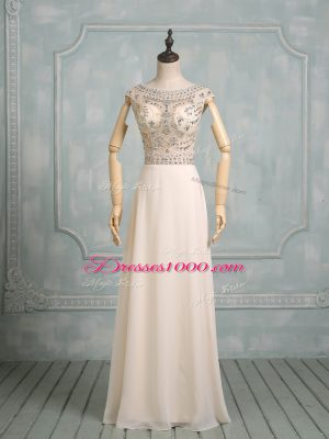 Popular Champagne Empire Chiffon Scoop Cap Sleeves Beading Floor Length Backless Prom Party Dress