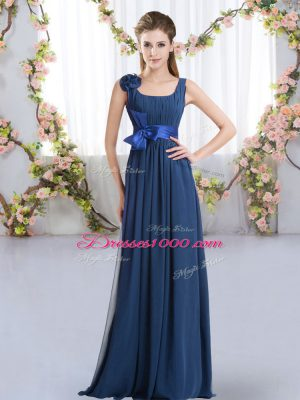 High End Chiffon Straps Sleeveless Zipper Belt and Hand Made Flower Court Dresses for Sweet 16 in Navy Blue