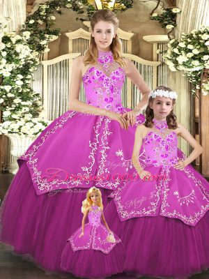 Custom Fit Sleeveless Floor Length Embroidery Lace Up Quinceanera Gowns with Fuchsia