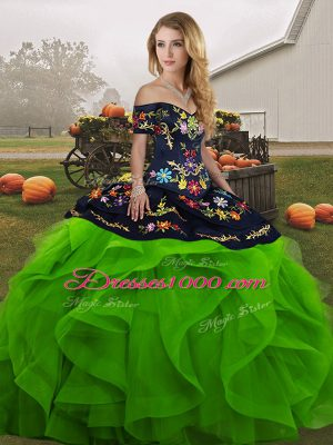 Exceptional Tulle Off The Shoulder Sleeveless Lace Up Embroidery and Ruffles Quinceanera Gowns in Green