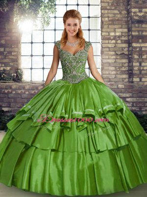 Excellent Green Sleeveless Taffeta Lace Up 15th Birthday Dress for Military Ball and Sweet 16 and Quinceanera