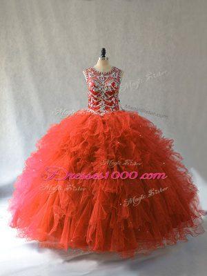 Glittering Scoop Sleeveless Sweet 16 Dress Floor Length Beading and Ruffles Orange Red Tulle