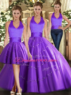Popular Halter Top Sleeveless Tulle Sweet 16 Quinceanera Dress Beading Lace Up