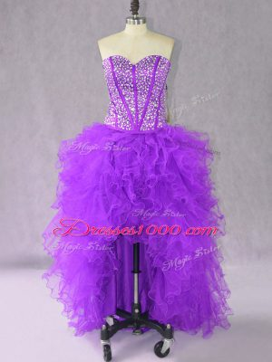 Affordable Purple Lace Up Junior Homecoming Dress Beading and Ruffles Sleeveless High Low