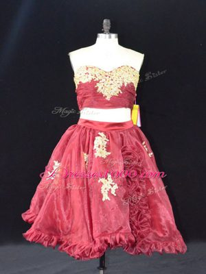 Mini Length Zipper Wine Red for Prom and Party with Appliques and Ruffles
