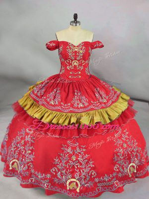 Traditional Red Sleeveless Embroidery Floor Length Vestidos de Quinceanera