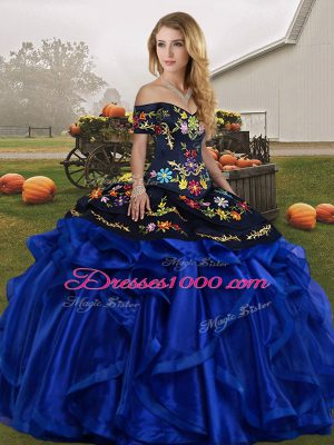 Blue And Black Off The Shoulder Neckline Embroidery and Ruffles Sweet 16 Dress Sleeveless Lace Up