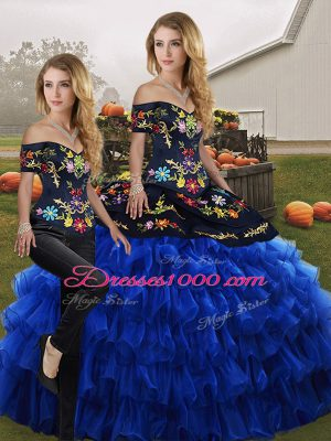 Ideal Blue And Black Two Pieces Off The Shoulder Sleeveless Organza Floor Length Lace Up Embroidery and Ruffled Layers Quinceanera Dresses