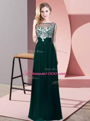 Gorgeous Floor Length Peacock Green Formal Evening Gowns Scoop Sleeveless Backless