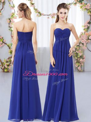 Royal Blue Chiffon Zipper Sweetheart Sleeveless Floor Length Wedding Party Dress Ruching