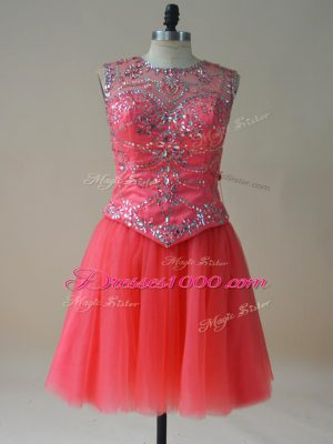 New Style Coral Red A-line Tulle Scoop Sleeveless Beading Mini Length Lace Up Casual Dresses