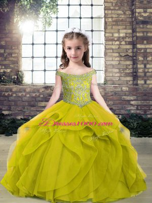 New Style Olive Green Sleeveless Tulle Lace Up Little Girls Pageant Gowns for Party and Military Ball and Wedding Party