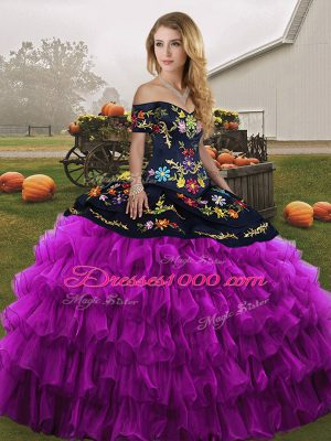 Discount Black And Purple Ball Gowns Organza Off The Shoulder Sleeveless Embroidery and Ruffled Layers Floor Length Lace Up Quinceanera Gowns