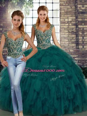Comfortable Peacock Green Two Pieces Beading and Ruffles Sweet 16 Dresses Lace Up Organza Sleeveless Floor Length