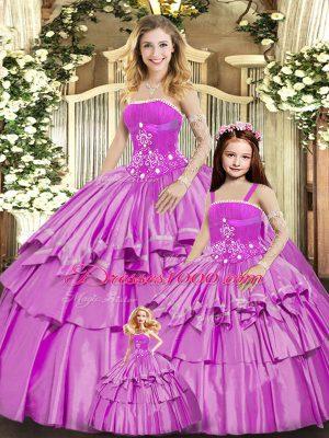 Fantastic Lilac Lace Up Sweet 16 Dress Beading and Ruffled Layers Sleeveless Floor Length