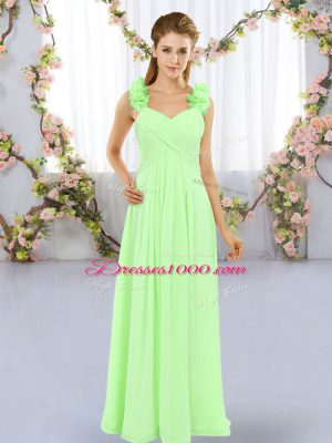 Beautiful Straps Sleeveless Chiffon Bridesmaids Dress Hand Made Flower Lace Up